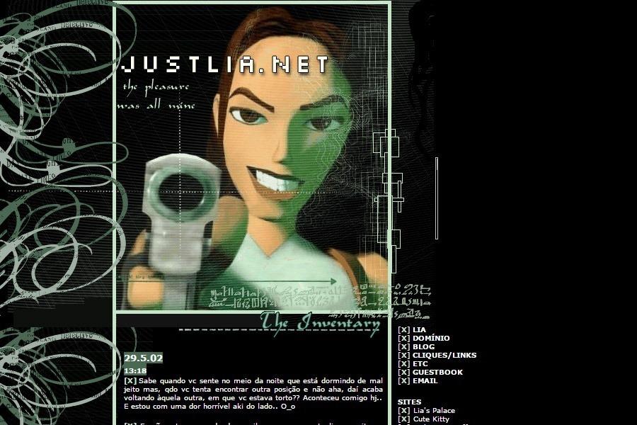 """(No ar em 27/04/02) Comentários: A idéia surgiu após algumas horas jogando Tomb Raider IV – The Last Revelation. Sempre achei os games meio machistas pelo fato de ter poucas mulheres para jogar. Esse é umdos motivos pelo qual gosto da Lara. Um dos outros motivos, é o fato de ela ser morena e não loira! ^_^"""""""