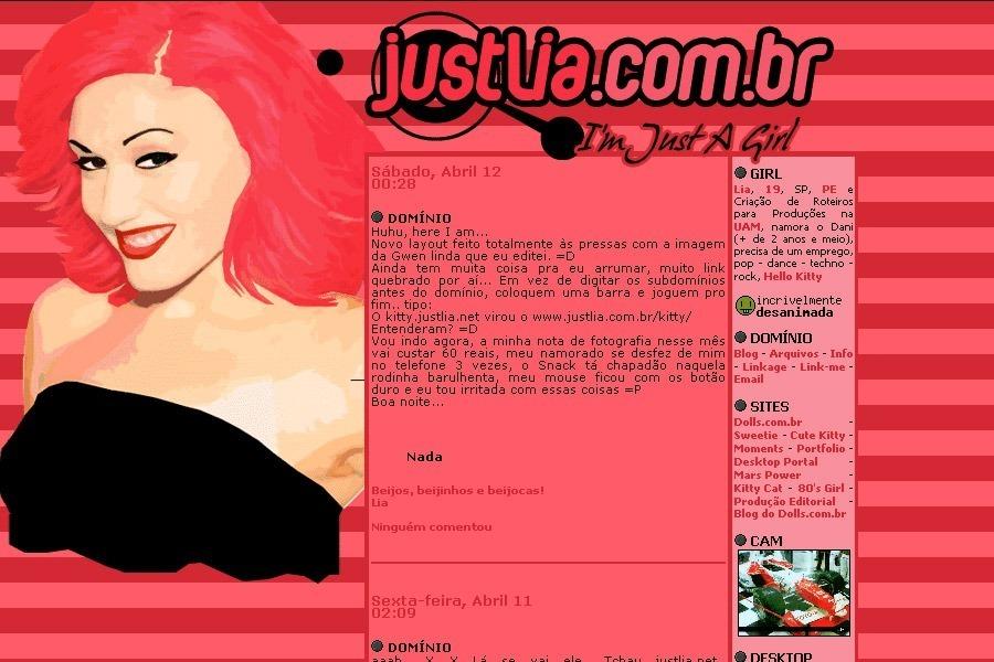 (No ar em 12/04/03) Comentários: A imagem tinha sido feita junto com a da Cameron e eu queria usá-la em um layout igual, mas com outras cores. Mas não consegui fazer layouts rotativos, então fui usar só quando o justlia.net venceu… =P