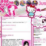 (No ar em 13/06/04) Comentários: Eu sempre quis um layout maluquinho cheio de tranqueirinhas jogadas… A cor é pq estou numa fase meio rosa, pra roupas e tal.. =P É o mesmo desenho feito pela Thali usado segunda versão do JL.