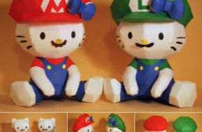 Papertoys da Hello Kitty como Mario Bros