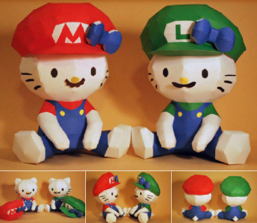 papertoys-mario-luigi-hellokitty-mimmy