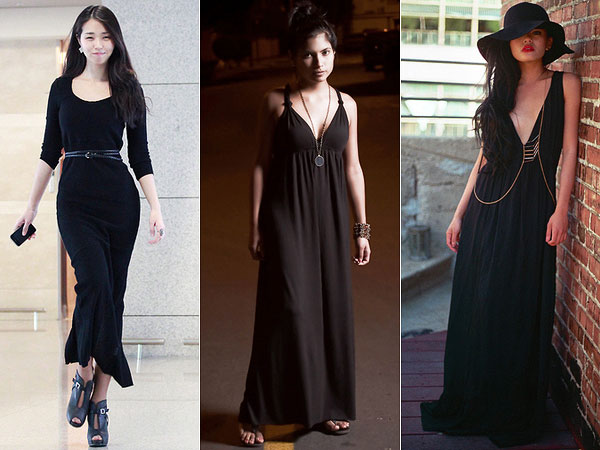 Vestido longo de malha combina com que sapato