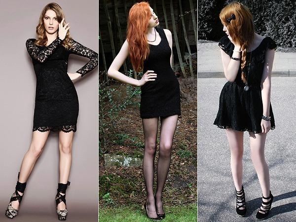 Vestido preto com sapato baixo
