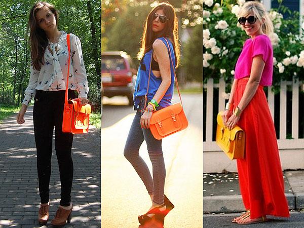 Fashionistas usando looks com bolsa satchel.