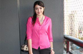 Look do dia: Camisa pink, Maquiagem Virtual Mary Kay, iPad do Just Lia