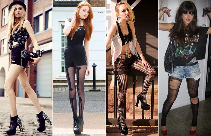Fashionistas e modelos usando looks de halloween com tom dark.