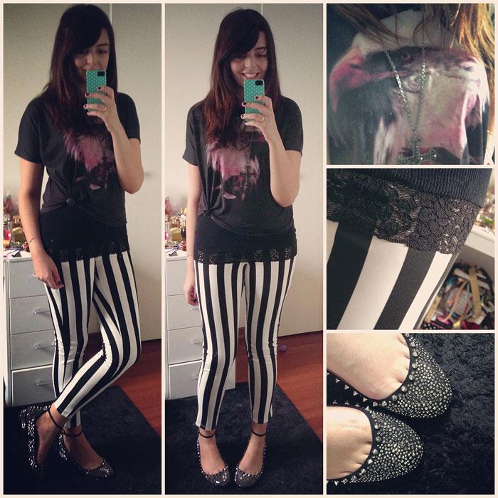 Calça Forever 21 + Regata Costume + Camiseta Zara + Sapatilha Zara +
