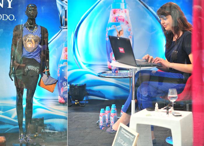 Look montado + ~euzinha~ trabalhando de dentro da vitrine!