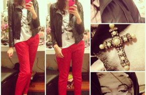 Looks da semana: Calça vermelha, Short quadriculado, Verde militar, Suéter listrado, Azul e preto
