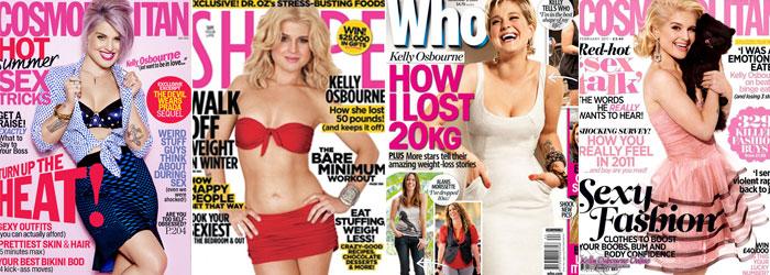 Muitas capas de revista pra mostrar a mudança de seu corpo