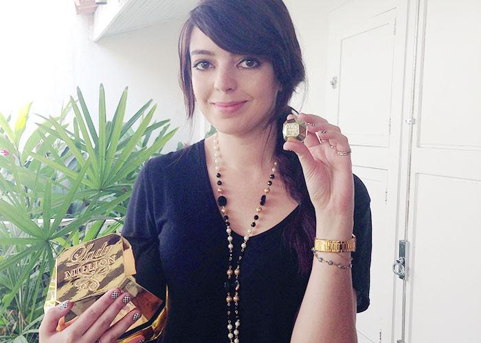 Lady Million, embalagem dourada em formato de diamante