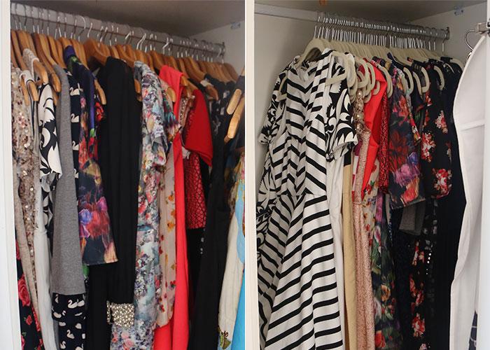 Antes e depois do armário de vestidos!