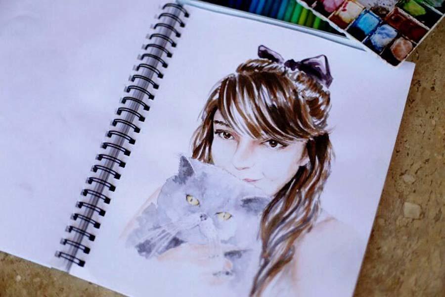 Tippy e eu na pintura da ilustradora Bianca Pozzi
