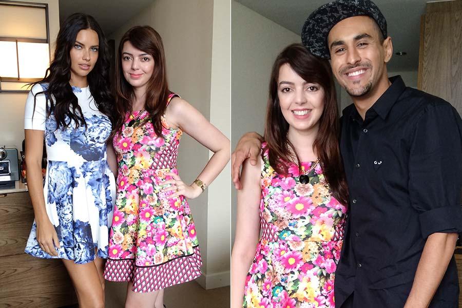 Com a top model Adriana Lima e o makeup artist Yadim
