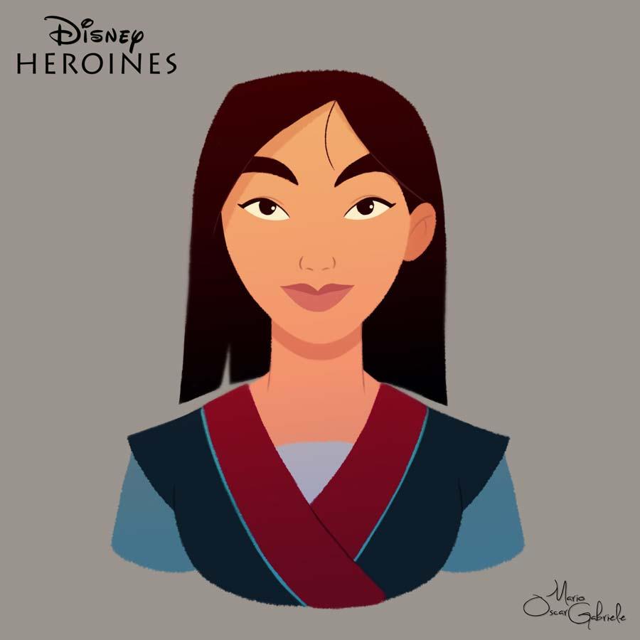 disney-ilustrações-retratos-heroínas-mulan
