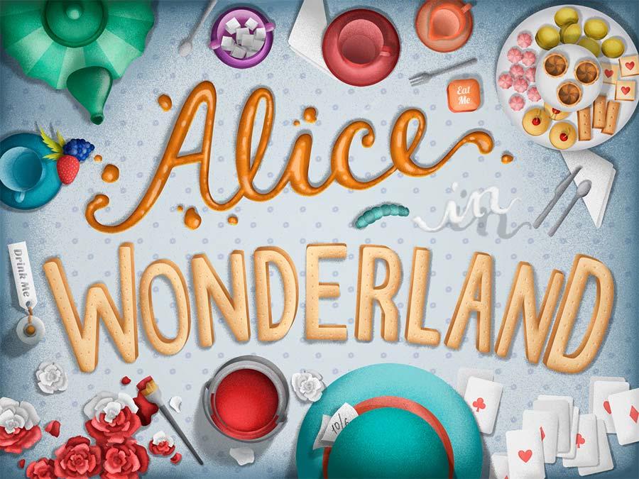 Título Alice no País das Maravilhas com objetos da história.