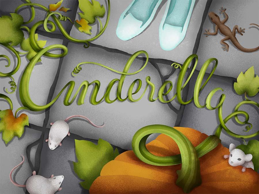 Título Cinderella com objetos da história.