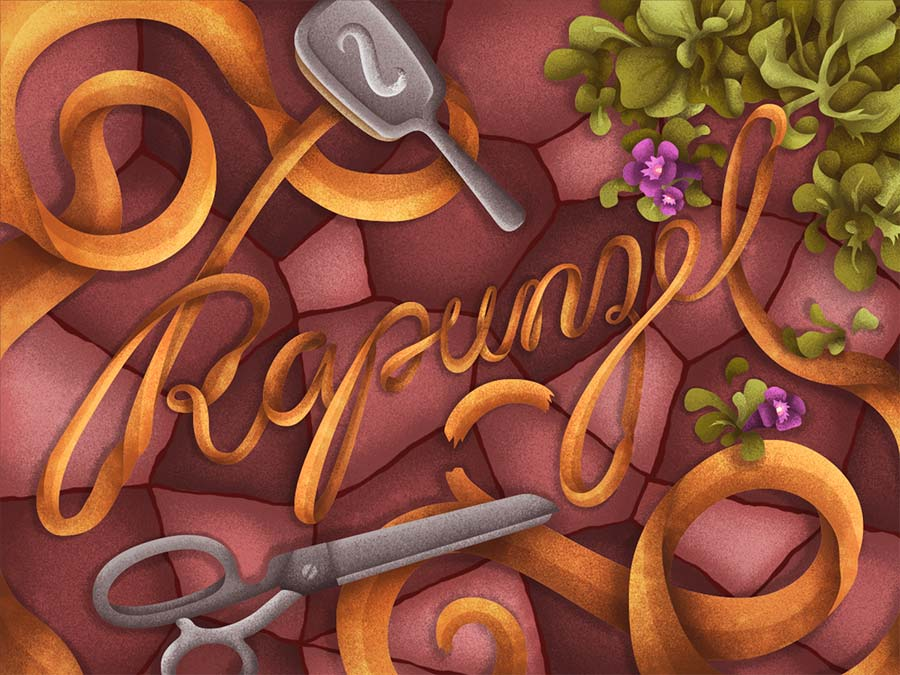 Título Rapunzel com objetos da história.