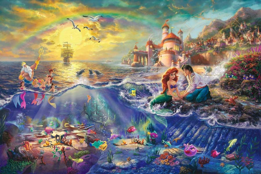 disney-ilustracao-thomaskinkade-disneydreams-apequenasereia