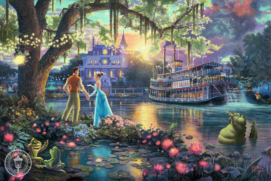 disney-ilustracao-thomaskinkade-disneydreams-aprincesaeosapo