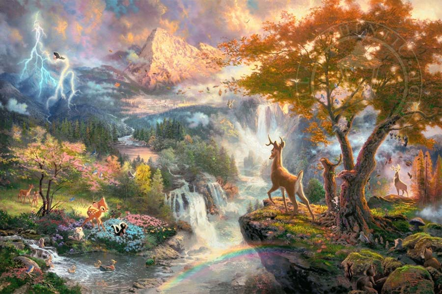 disney-ilustracao-thomaskinkade-disneydreams-bambi