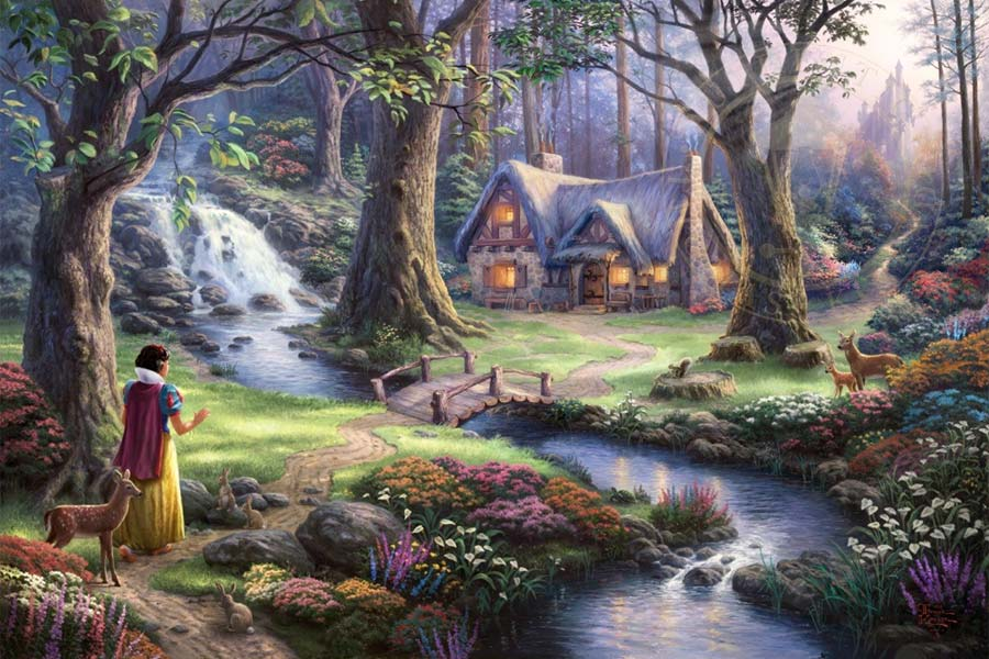 disney-ilustracao-thomaskinkade-disneydreams-brancadeneve
