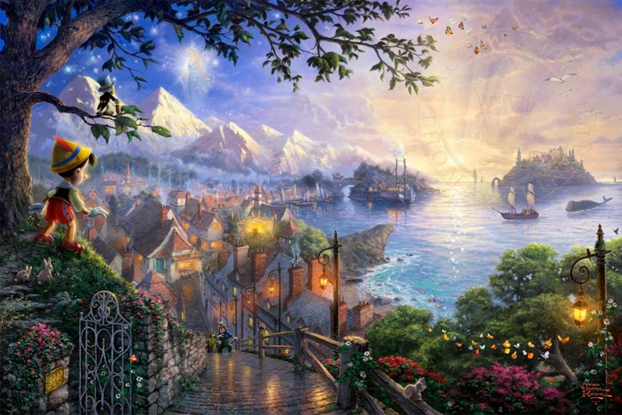 disney-ilustracao-thomaskinkade-disneydreams-pinoquio