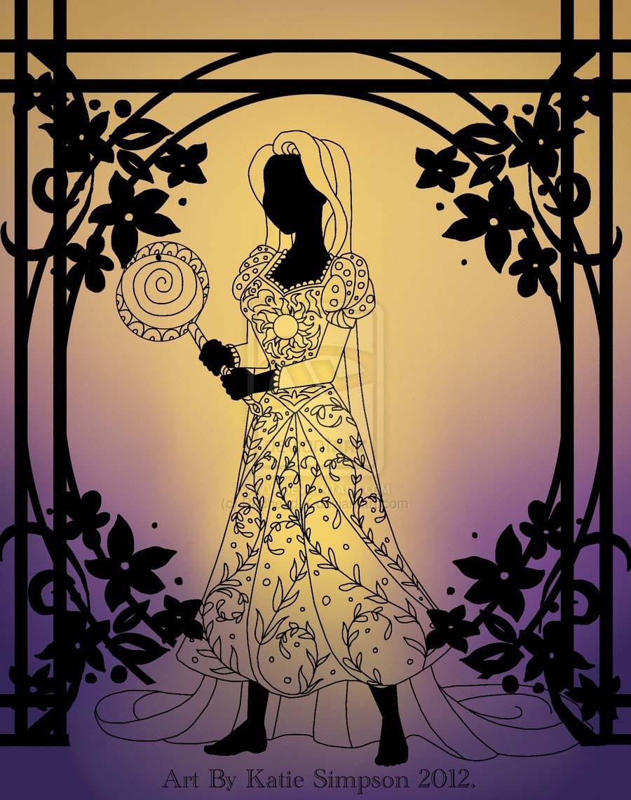 disney-ilustracoes-silhuetas-rapunzel