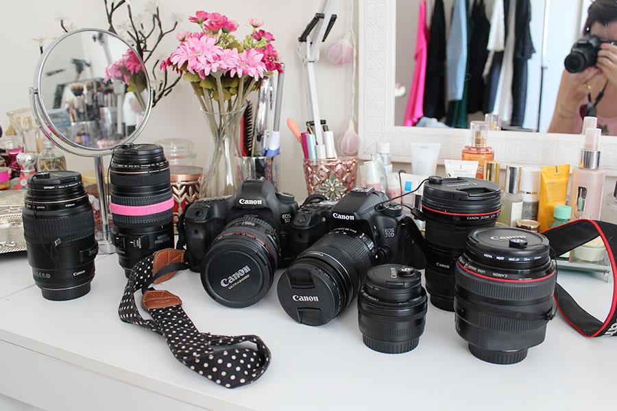 Minhas câmeras e lentes