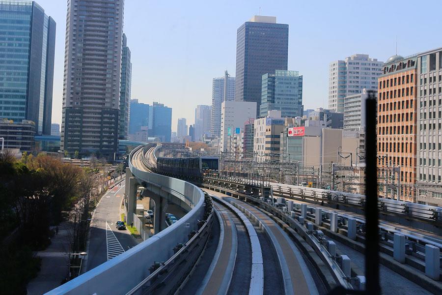 No monotrilho a caminho de Odaiba
