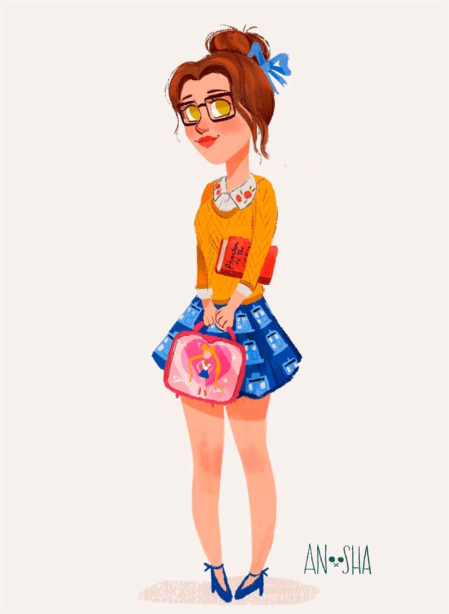 disney-ilustracao-roupasmodernas-bela