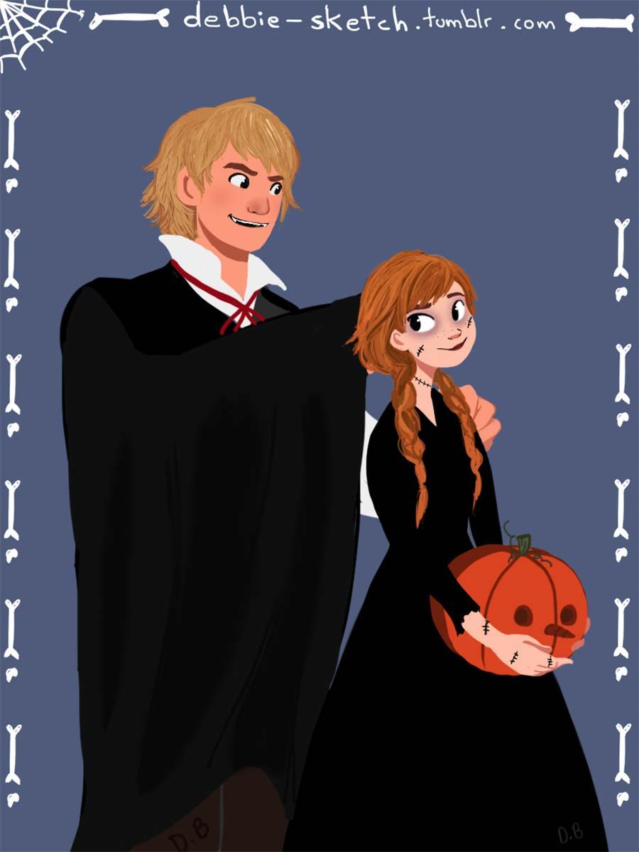 disney-ilustraçao-casaisfantasiados-halloween-anna
