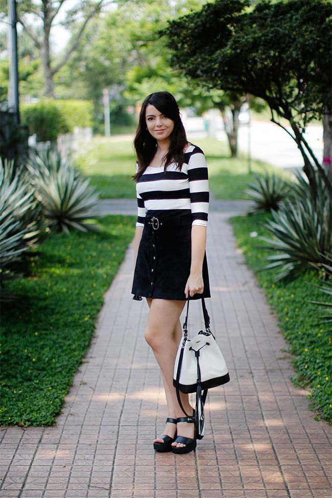 6d716c4679 Look do dia  Camurça e listras