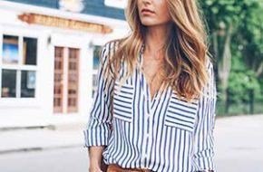 Tendência: Camisa listrada de azul e branco