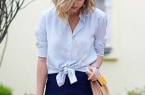 Como usar: Camisa listrada de azul e branco