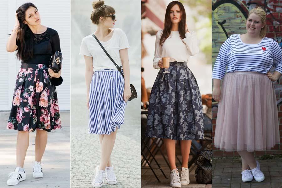 Resultado de imagem para como usar saia midi estampada
